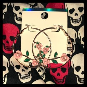 Rose Decal Gold Hoop Earrings
